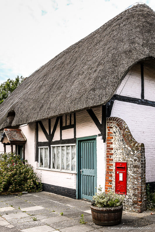 Pink Thatched Roof Cottage in the Village of East Meon, Hampshire