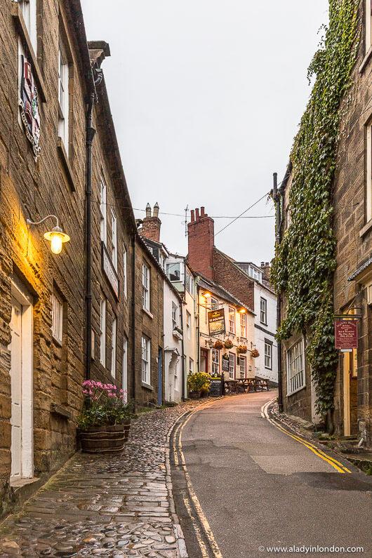 Street in Robin Hood's Bay Village in England