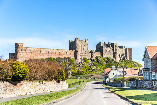 Bamburgh Village and Castle in England